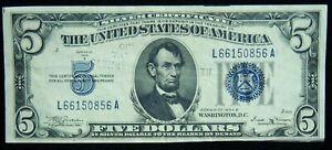 1934-B $5 Silver Certificate Crisp Extra Fine Condition