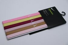 NIKE SWOOSH SPORT TRAINING ELASTIC SILICONE GRIP HAIRBANDS HEADBANDS 6PACK