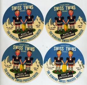4 ORIGINAL SWISS TWINS BRAND CHEESE LABELS