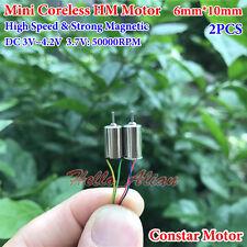 2PCS 6mm*10mm DC3.7V 50000RPM Ultrahigh High Speed Micro Mini Coreless Motor Toy