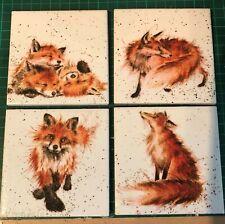Set of 4 Handmade ceramic coasters Wrendale Design (foxes)