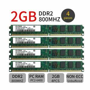 8GB 4x 2GB 800MHz DDR2 PC2-6400U 240Pin 2Rx8 Dimm Desktop Memory SDRAM ELPIDA BT