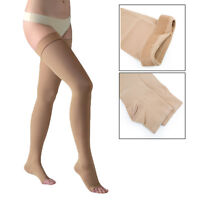 20-30mmHg Thigh High Compression Stockings Therapeutic Open Toe Silicone Band