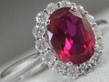 CLASSIC DIAMOND RUBY 18KT WHITE GOLD DIANA OVAL HALO COCKTAIL RING 11MM #100232
