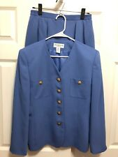 Saville Suit Set Size 10 Womens Skirt Blazer Matching Outfit Lined Blue Gold