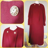 TRUE VINTAGE uk 14 long swing coat dark red burgandy with scarf winter admyra