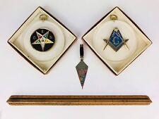 Lot of 3 Masonic Vintage Emblem Hanging Christmas Ornaments Mason Eastern Star