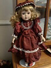16 Inches D66 Girl Porcelain Doll In Red Maroon Dress & Hat