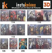 """3D Lenticular Picture Wholesale Lot of 8 Skull 3D Pictures 15 1/2""""x 11 1/2"""