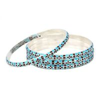 925 solid Sterling Silver Handmade Enamel Work Bangle WT-54 gm Free Shipping