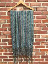 Missoni Foulard Italy Fringe Zigzag Knit Scarf Green Purple Yellow Blue * RARE!