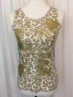 Justice Girls Tank Top Glitter Animal Print Gold Love Spellout Size 18