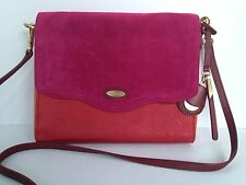 TAHARI Color block leather suede red-orange-pink Crossbody Pre-owned