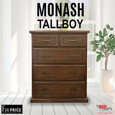 New Luxury Pinewood Monash Tallboy 5 Chests of Drawers Bedroom Storage, Brown
