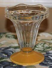 VTG FRANCE YELLOW BOTTOM GLASS SCALLOPED EDGE ICE CREAM SUNDAE DISH set of 8