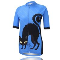 Ladies Sportwear Black Cat Cycling Jerseys Short Sleeve Bike Bicycle Jersey Top