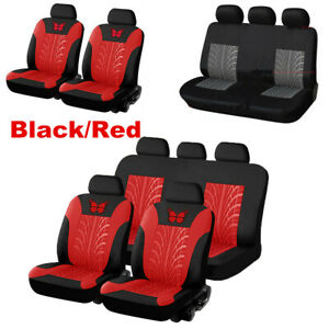 9pc Universal Car Seat Covers Full Set Front&Rear Seat Back Head Rest Protector