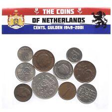LOT OF 10 MIXED HOLLAND NETHERLANDS COINS DUTCH CENTS GULDEN GUILDER 1949-2001