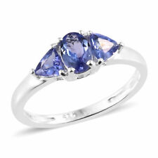 1Ct Tanzanite Oval & Trillion Trilogy 925 Sterling Silver Ring Size Q/8