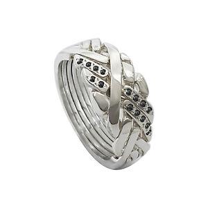 Puzzle ring 925 silver 6 band ANATOLIAN design 2 line stones interlocking knot