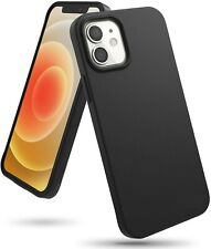 Funda para iPhone 12 y 12 Pro (6.1) carcasa Silicona Ligera Flexible Negro Mate