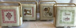 Luxury Sewing Basket Vintage Style Buttons Small - 4 Patterns Craft Storage Gift