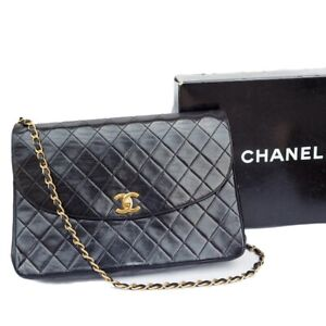 CHANEL Auth Quilted CC Single Chain Shoulder medium Bag Black Leather Vintage