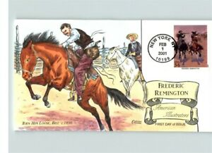 Hand Painted COWBOYS, Frederic Remington, Art ILLUSRATION, First Day of Issue