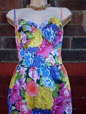 Topshop Photographic Corset Dress 14 Floral Rose Print Cup Bustier 80s retro