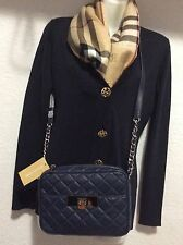 Michael Kors Navy SUSANNAH QUILTED New $260 LEATHER MED MESSENGER CROSSBODY BAG