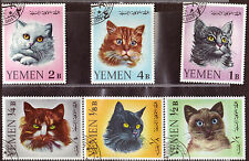 CATS OF YEMEN 1965 Michel #R99-104 COMPLETE USED SET 0709