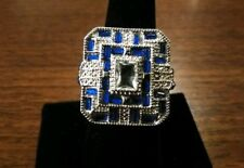 HUGE SIMULATED BLUE & WHITE SAPPHIRE RING SIZE 10