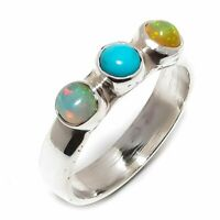 Turquoise, Ethiopian Fire Opal Gemstone 925 Sterling Silver Ring Size 7 R-143