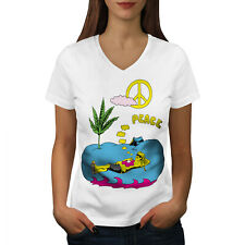 Wellcoda Peace Leaf 42 Weed Womens V-Neck T-shirt, Camping Graphic Design Tee