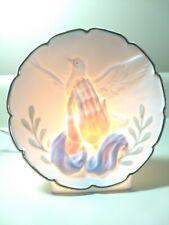Praying Hands with Dove Ceramic Night Light Gold Rim Christian Home Decor Easter