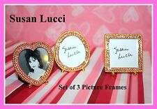 *NEW* SUSAN LUCCI SET OF 3 PINK CRYSTAL & BRASS TABLE-TOP PICTURE FRAMES