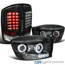 Fit 07-09 Dodge Ram Black Halo Projector Headlights+LED Tail Lights Brake Lamps