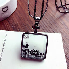 Black Chain Necklace Jewelry New Fashion Charm Crystal Perfume Bottle Pendant