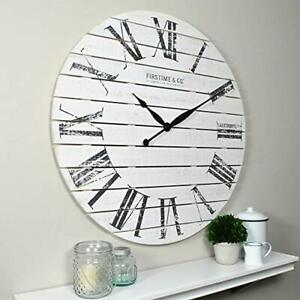 FirsTime & Co. Farmhouse Shiplap Wall Clock American Crafted White 29 x 2 x 29