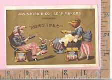 """JAS S KIRK & CO SOAP MAKERS CHICAGO """"AMERICAN FAMILY"""" EAGLE TRADE CARD 127-128"""