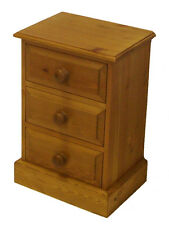 UK Hand Made Solid Pine Bedroom 3 Drawer Bedside Cabinet (Small)
