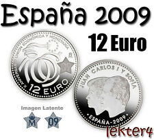 ESPAÑA 12 EUROS 2009 - PLATA -  UNION ECONOMICA Y MONETARIA