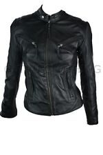 100% Ladies Real Leather Jacket Fitted Bikers Style Vintage Black Rock