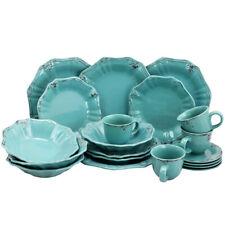 Elama Elm-Fleurdelys-Turquoise Fleur De Lys 20-Piece Dinnerware Set In