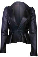 New womens ladies faux leather zip coat biker crop jacket pvc Size 8 10 12^LTHjk