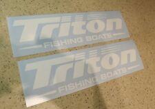 """Triton Vintage Fishing Boat Decals Die-Cut 2-Pak 11"""" FREE SHIP + Free Fish Decal"""