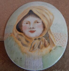 Hand Painted Ceramic Plaque of A country women Folk art style signed 1990