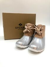 Sperry® Saltwater2-Eye Beautiful Rose Leather Upper Sz10 Pearlized Grey Stunning