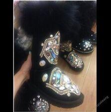 Womens Size 4.5-11 Fur Winter Thicken Warm Knee Snow Boots rhinestone Shoes