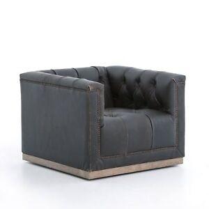 "Set of two 33.75"" L Loredana Swivel Chair Top grain black destroyed leather"